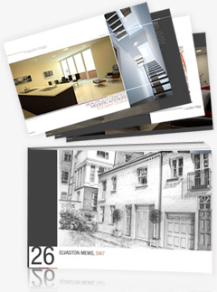 Identity branding, property brochure design for Carbona - Elvaston Mews