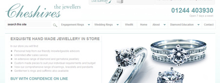 Cheshires Jewellers eCommerce website design