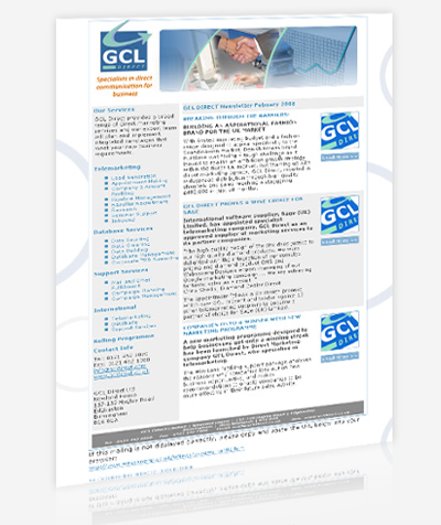 GCL Direct, Birmingham Agency Cloud Based email newsletters