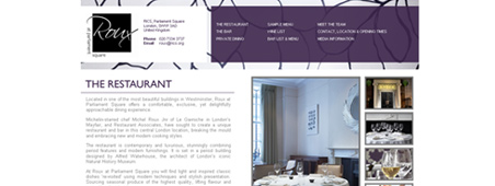 Roux at Parliamanet Square Restaurant website design