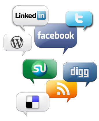 Social Media and Bookmarkeing logos, LinkedIn, Twitter, Facebook, Wordpress, Stumble Upon, Digg, delicious, RSS